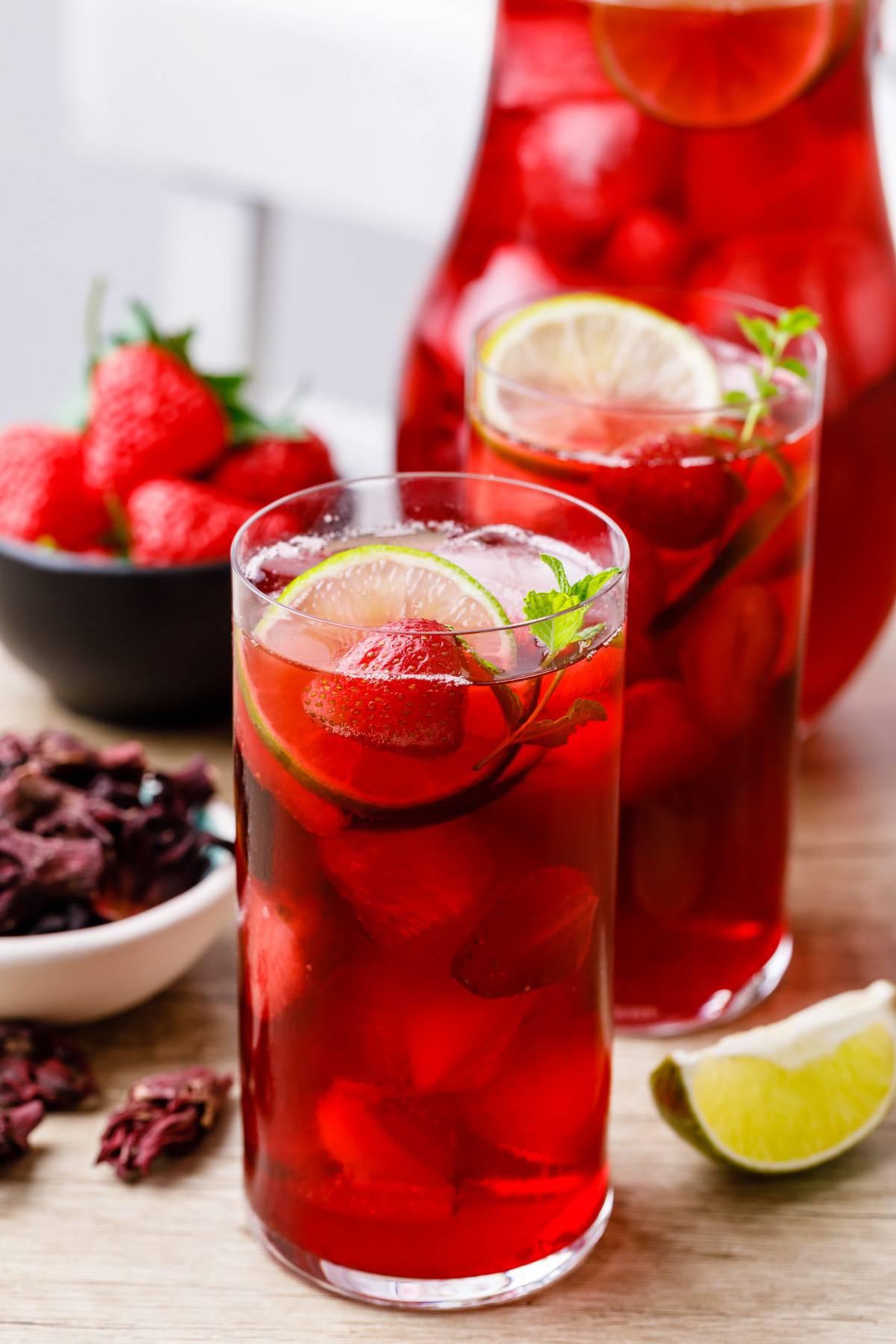 Strawberry Hibiscus Iced Tea