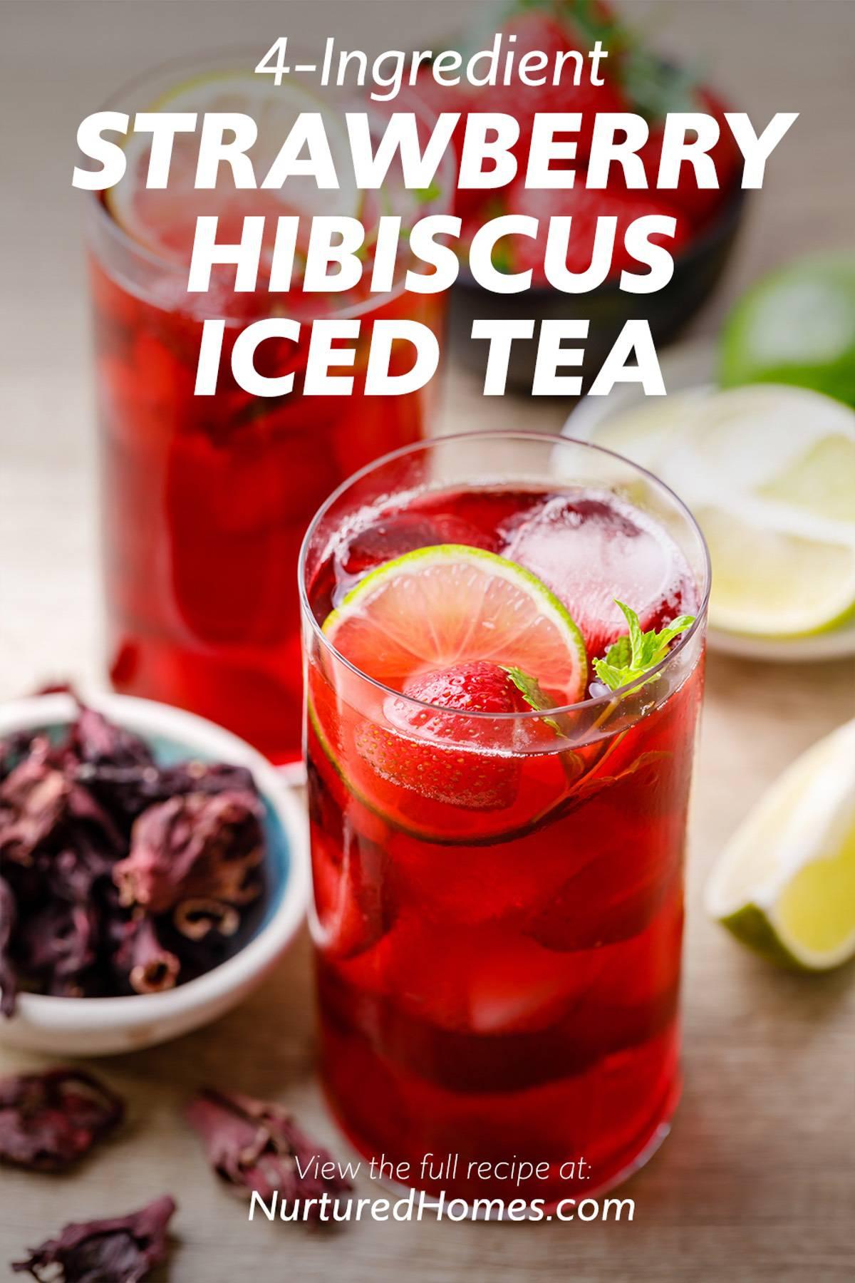 4-Ingredient Strawberry Hibiscus Iced Tea