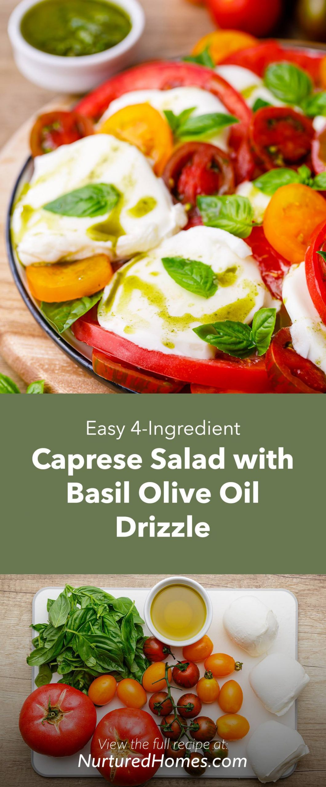 Easy 4-Ingredient Caprese Salad with Basil Olive Oil Drizzle