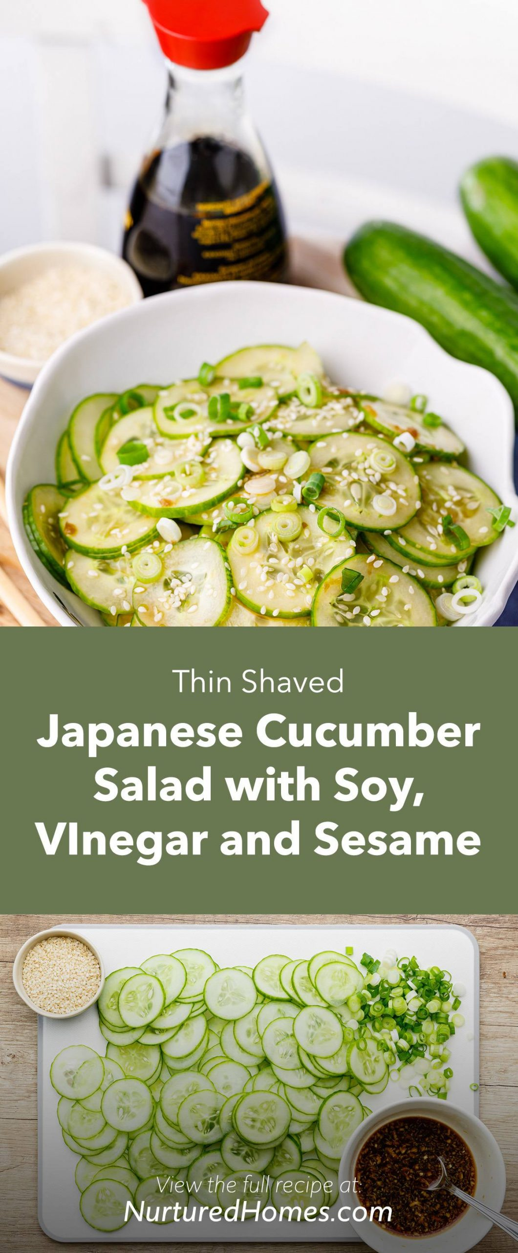Thin Shaved Japanese Cucumber Salad with Soy, Vinegar and Sesame Seeds