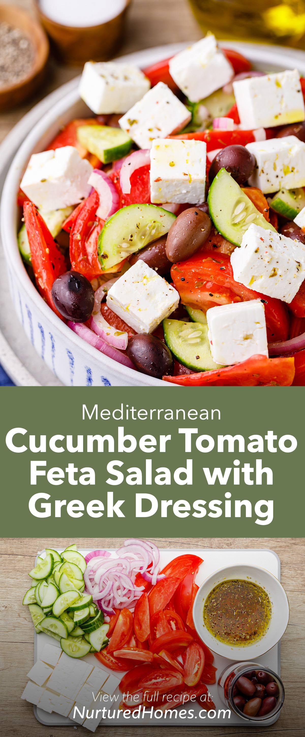 Mediterranean Cucumber Tomato Feta Salad with Homemade Greek Dressing